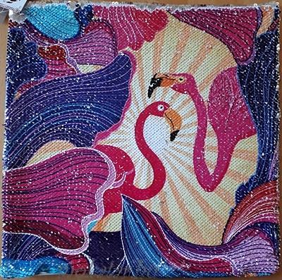 Flamingós díszpárnahuzat cipzáras simis, flitteres